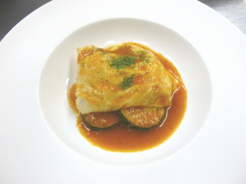 ホタテと里芋のキャベツ包み