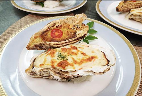 牡蠣の二色焼き